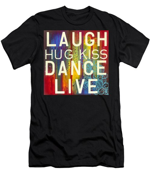 Men's T-Shirt (Athletic Fit) featuring the painting Laugh Hug Kiss Dance Live by Carla Bank