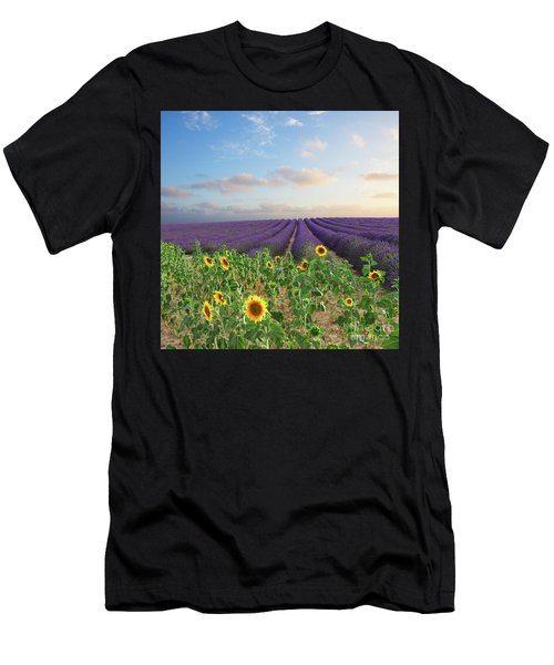 Lavender And Sunflower Flowers Field Men's T-Shirt (Athletic Fit)