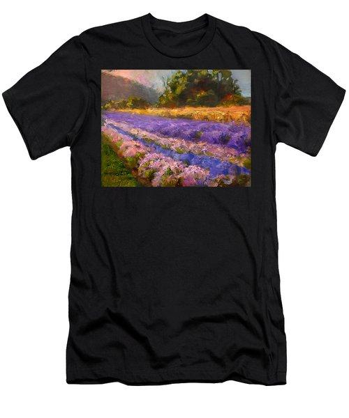 Lavender Rows - Impressionistic Landscape Plein Air Painting Men's T-Shirt (Athletic Fit)