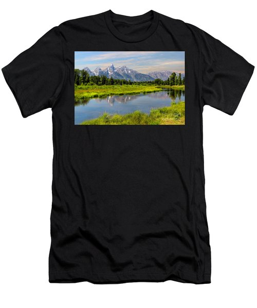 Lavender Teton Peaks  Men's T-Shirt (Athletic Fit)