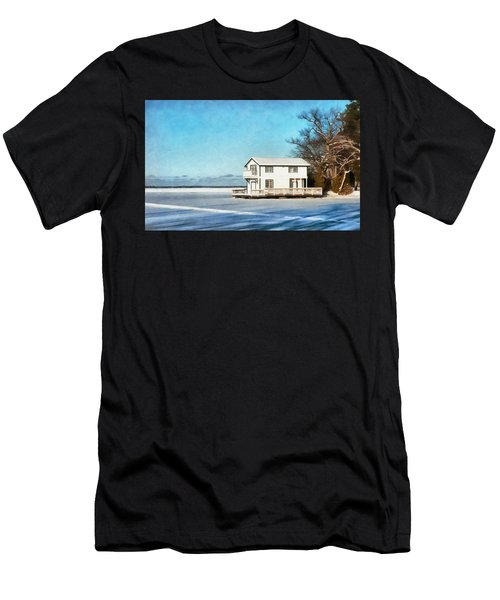 Leacock Boathouse In Winter Men's T-Shirt (Athletic Fit)