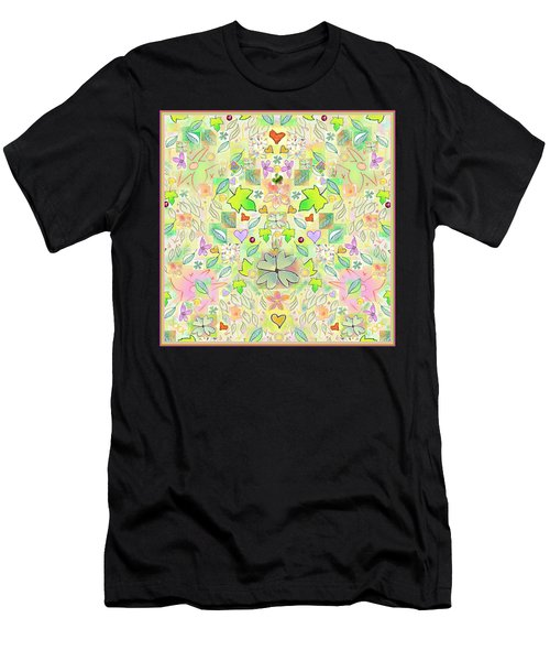 Leaf And Flower And Heart Pattern  Men's T-Shirt (Athletic Fit)