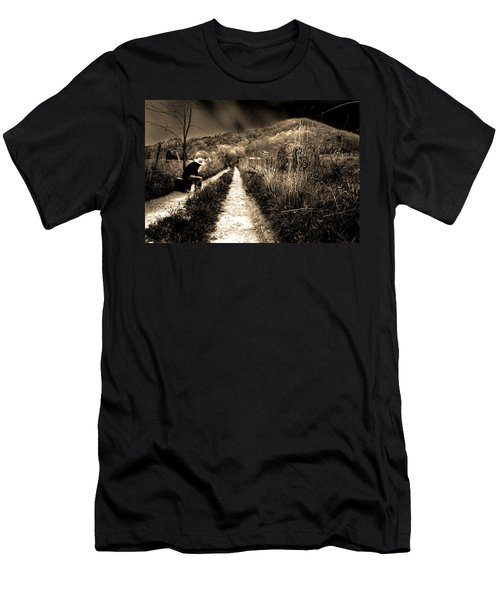 Men's T-Shirt (Slim Fit) featuring the photograph Leaving This Town by Gray  Artus
