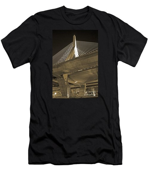 Leonard P. Zakim Bunker Hill Bridge In Sepia Men's T-Shirt (Athletic Fit)