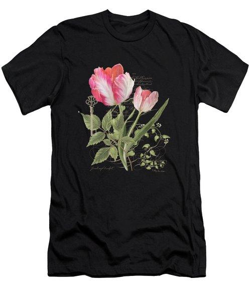 Les Magnifiques Fleurs I - Magnificent Garden Flowers Parrot Tulips N Indigo Bunting Songbird Men's T-Shirt (Athletic Fit)
