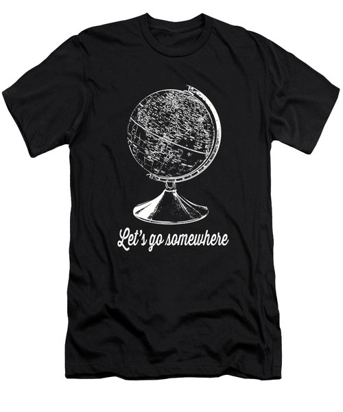 Let's Go Somewhere Tee White Ink Men's T-Shirt (Athletic Fit)