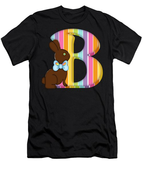 Letter B Chocolate Easter Bunny Men's T-Shirt (Athletic Fit)