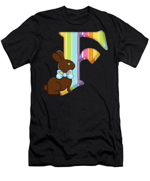 Letter F Chocolate Easter Bunny Men's T-Shirt (Athletic Fit)
