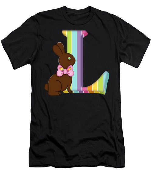 Letter L Chocolate Easter Bunny Men's T-Shirt (Athletic Fit)