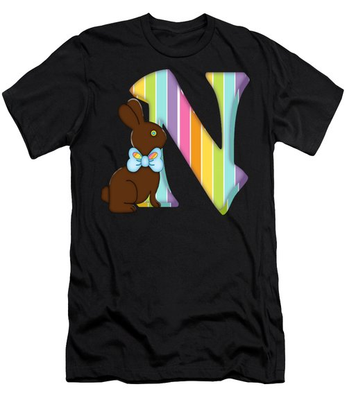 Letter N Chocolate Easter Bunny Men's T-Shirt (Athletic Fit)