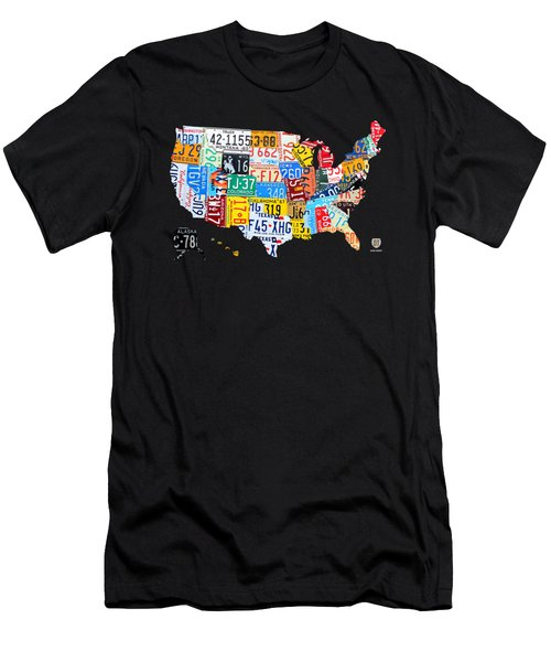 License Plate Art Map Of The United States On Yellow Board Men's T-Shirt (Athletic Fit)