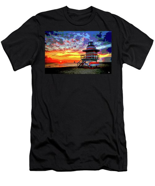 Lifeguard Tower At Miami South Beach, Florida Men's T-Shirt (Slim Fit) by Charles Shoup