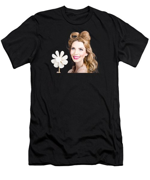 Light Brunette Pin-up Girl With Toy Wind Turbine Men's T-Shirt (Athletic Fit)