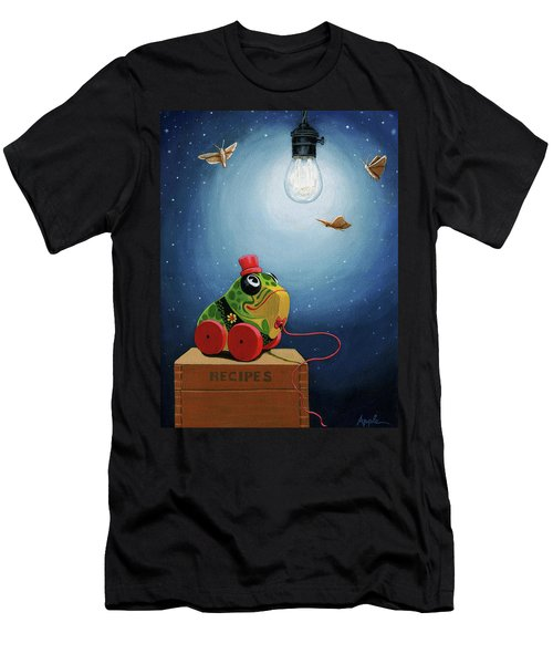 Men's T-Shirt (Slim Fit) featuring the painting Light Snacks Original Whimsical Still Life by Linda Apple
