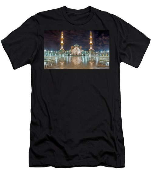 Men's T-Shirt (Athletic Fit) featuring the photograph Lighted Federal Territory Mosque  by Pradeep Raja Prints