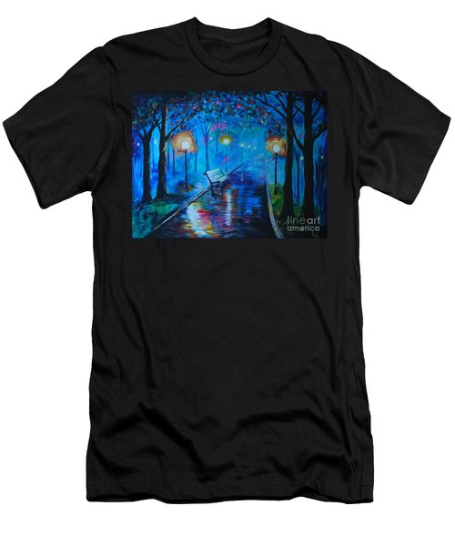 Men's T-Shirt (Slim Fit) featuring the painting Lighted Parkway by Leslie Allen