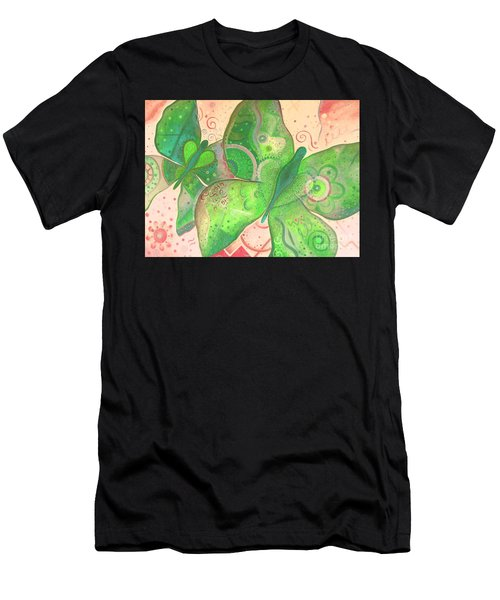 Lighthearted In Green On Red Men's T-Shirt (Athletic Fit)