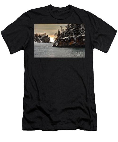 Lighthouse And Island At Dawn Men's T-Shirt (Slim Fit) by Larry Ricker