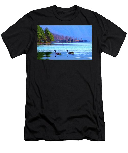 Lighthouse Geese, Smith Mountain Lake Men's T-Shirt (Athletic Fit)