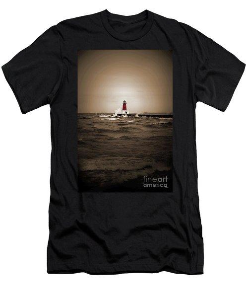 Lighthouse Glow Sepia Spot Color Men's T-Shirt (Athletic Fit)