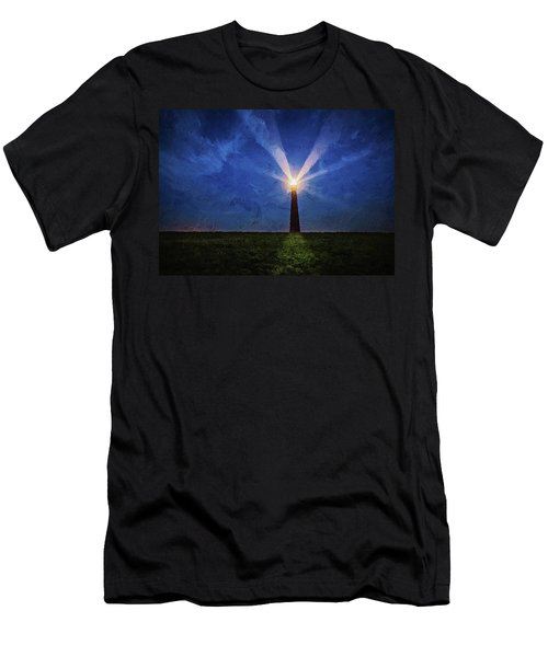 Men's T-Shirt (Athletic Fit) featuring the digital art Lighthouse In The Dusk by PixBreak Art