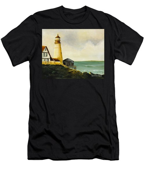 Lighthouse In Oil Men's T-Shirt (Athletic Fit)