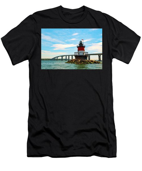 Men's T-Shirt (Athletic Fit) featuring the photograph Lighthouse On A Small Island by Brian Hale
