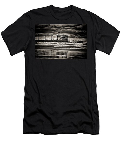 Lighthouse Reflections In Black And White Men's T-Shirt (Athletic Fit)