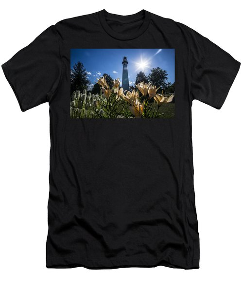 Lighthouse With A Flowery Foreground Men's T-Shirt (Athletic Fit)