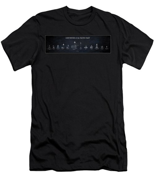 Lighthouses Of The Pacific Coast Blueprint Men's T-Shirt (Athletic Fit)