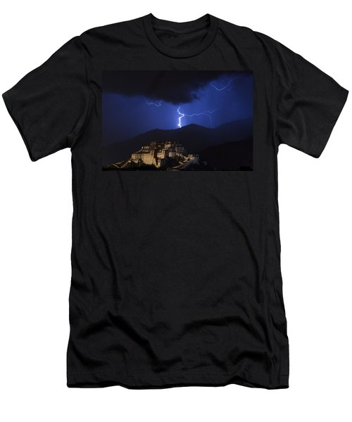 Men's T-Shirt (Athletic Fit) featuring the photograph Lightning Over Potala Palace, Lhasa, 2007 by Hitendra SINKAR
