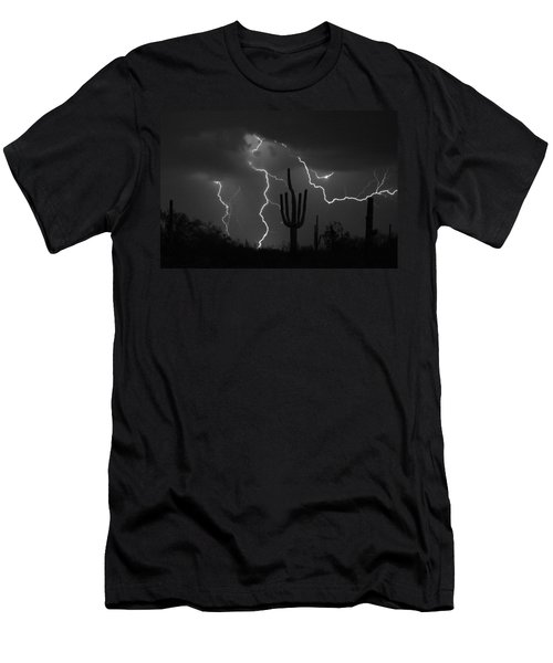 Lightning Storm Saguaro Fine Art Bw Photography Men's T-Shirt (Athletic Fit)