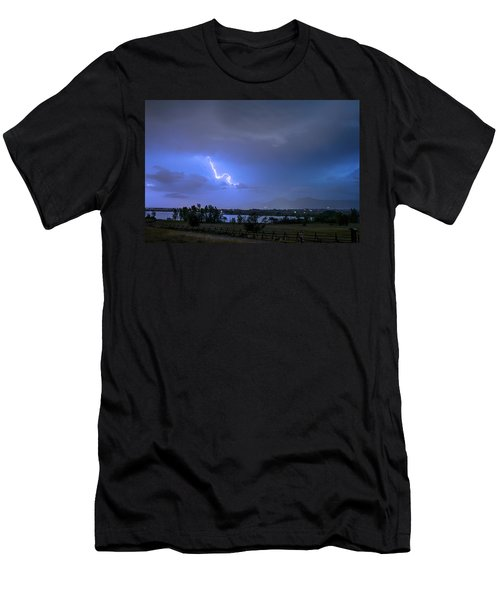 Men's T-Shirt (Athletic Fit) featuring the photograph Lightning Striking Over Boulder Reservoir by James BO Insogna