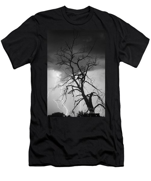 Lightning Tree Silhouette Portrait Bw Men's T-Shirt (Athletic Fit)