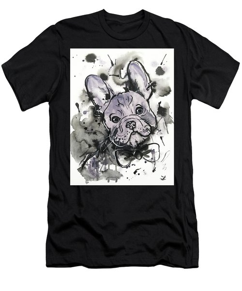 Men's T-Shirt (Athletic Fit) featuring the painting Lilac Frenchie by Zaira Dzhaubaeva