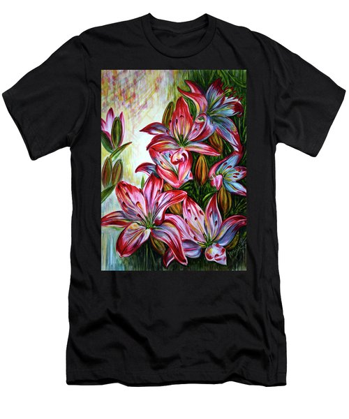 Men's T-Shirt (Slim Fit) featuring the painting Lilies by Harsh Malik
