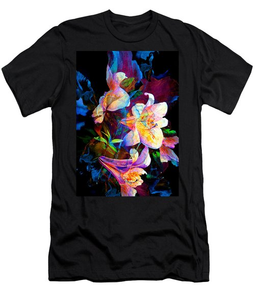 Men's T-Shirt (Athletic Fit) featuring the painting Lily Fiesta Garden by Hanne Lore Koehler