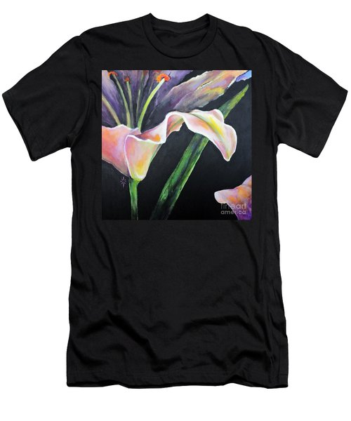 Men's T-Shirt (Slim Fit) featuring the painting Lily by Jodie Marie Anne Richardson Traugott          aka jm-ART