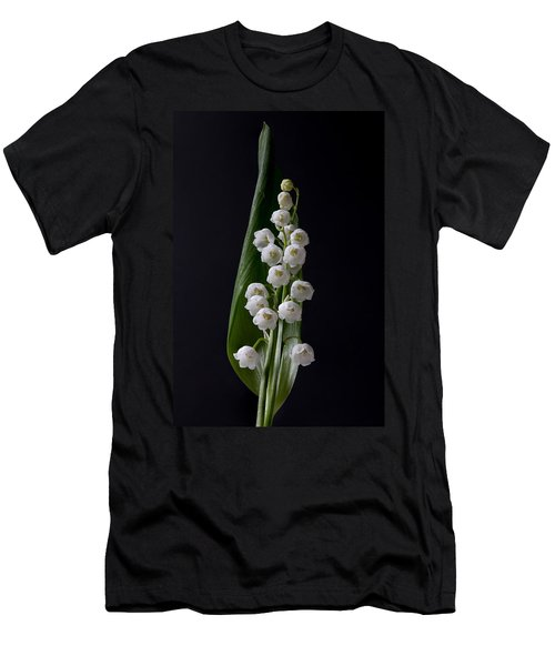 Lily Of The Valley On Black Men's T-Shirt (Athletic Fit)