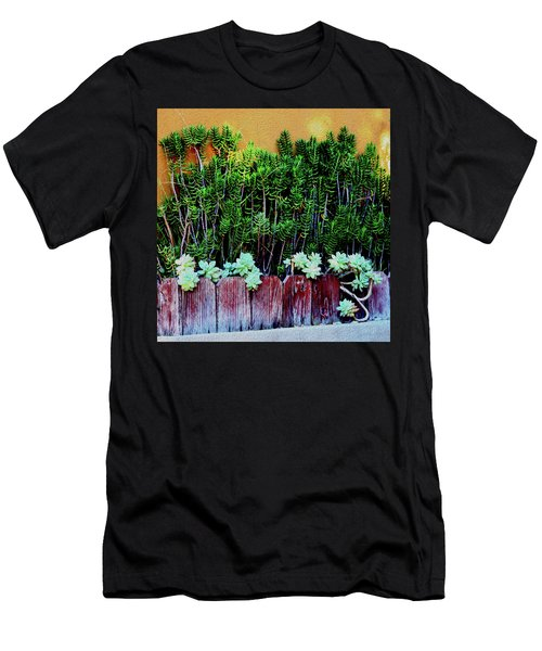 Line Of Succulents And Red Fence Men's T-Shirt (Athletic Fit)