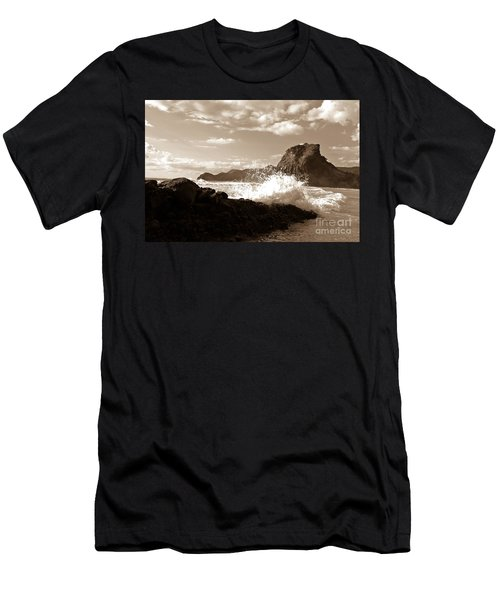 Men's T-Shirt (Slim Fit) featuring the photograph Lion Rock On Piha Beach, New Zealand by Yurix Sardinelly