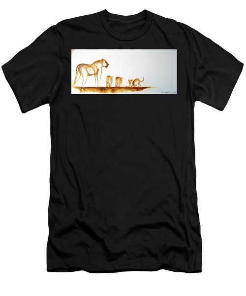 Lioness And Cubs Small - Original Artwork Men's T-Shirt (Athletic Fit)