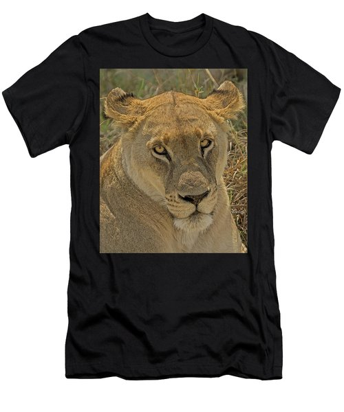 Men's T-Shirt (Athletic Fit) featuring the digital art Lioness by Larry Linton