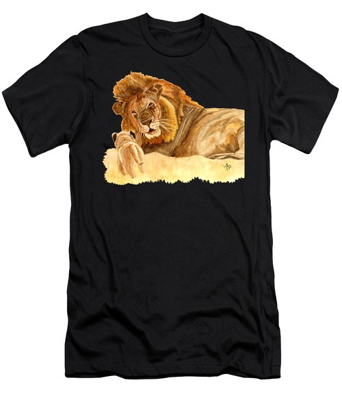 Men's T-Shirt (Athletic Fit) featuring the painting Lions by Angeles M Pomata