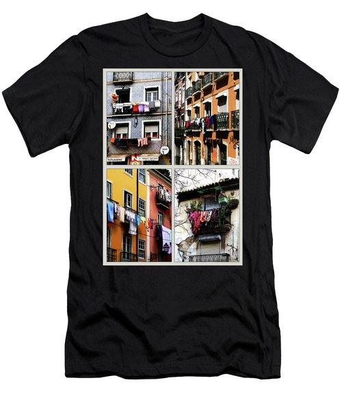 Men's T-Shirt (Slim Fit) featuring the photograph Lisbon Laundry by Lorraine Devon Wilke
