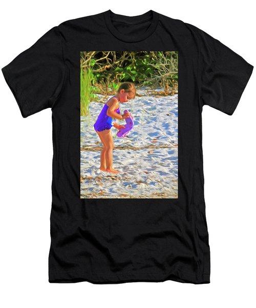 Little Beach Girl With Flip Flops Men's T-Shirt (Athletic Fit)