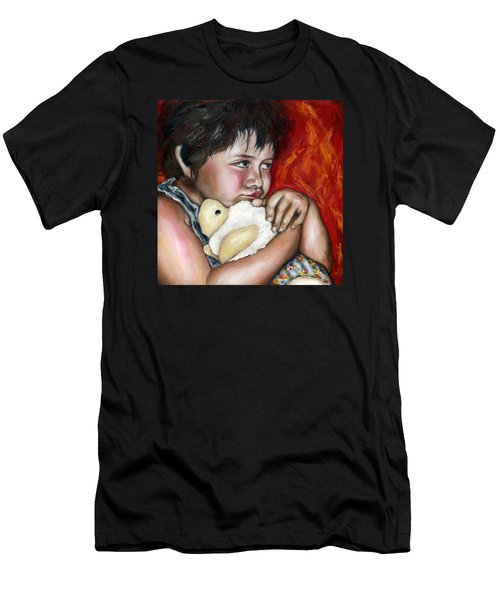 Men's T-Shirt (Slim Fit) featuring the painting Little Fighter by Hiroko Sakai