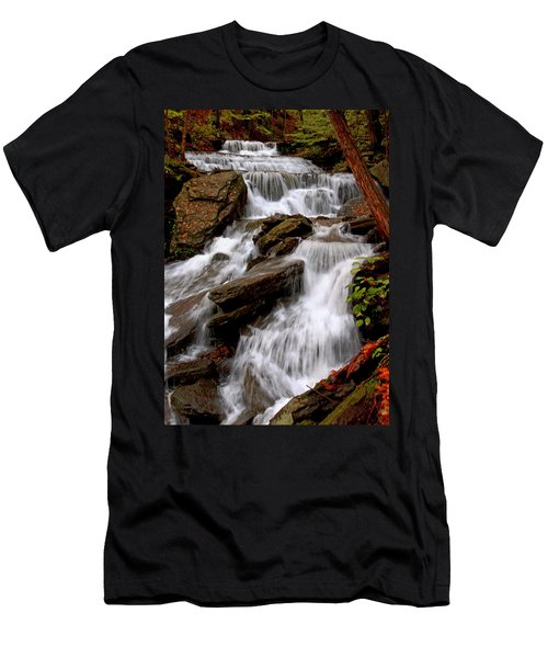 Men's T-Shirt (Slim Fit) featuring the photograph Little Four Mile Run Falls by Suzanne Stout