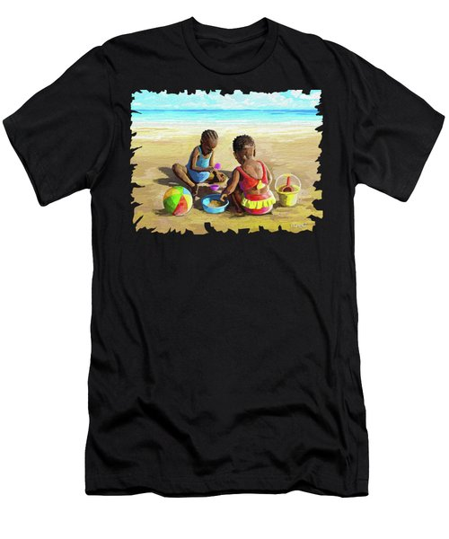 Little Girls At The Beach Men's T-Shirt (Athletic Fit)