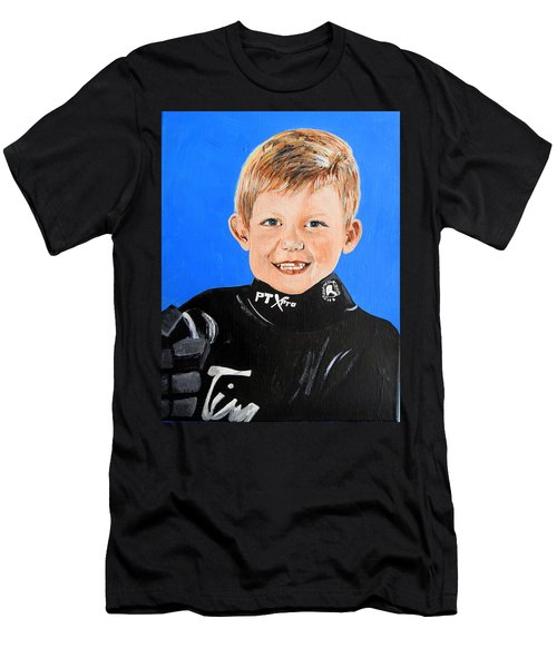 Men's T-Shirt (Slim Fit) featuring the painting Little Mister G by Betty-Anne McDonald